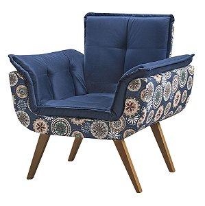 Poltrona Opalla Tecido Floral - Azul Marinho