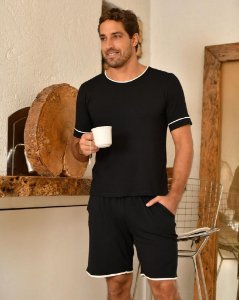 Pijama Curto masculino Malha Basico Preto