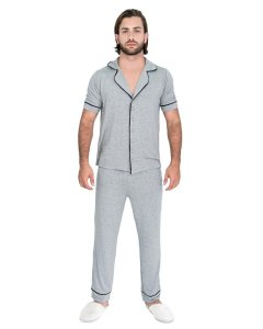 Pijama Americano masculino Basico Cinza Mescla