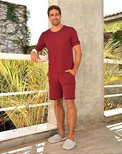 Pijama Curto masculino Malha Basico Vermelho Vinho