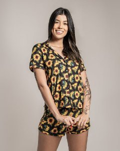 Pijama Americano feminino Camisa com Botoes Girassol