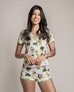 Pijama Americano feminino Camisa com Botoes Avocado