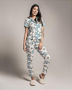 Pijama Americano feminino Camisa com Botoes e Calca Kombi