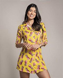 Camisola Americana com Botoes Manga Curta Pineapple