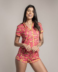 Pijama Americano feminino Camisa com Botoes Banana