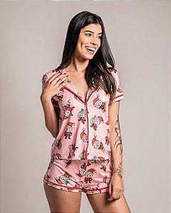 Pijama Americano Camisa com Botoes Santa