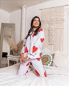 Pijama Americano Camisa com Botoes Longo Care Classy