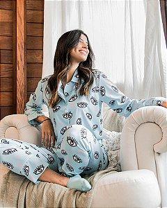 Pijama Americano Camisa com Botoes Longo Greek Eye Classy