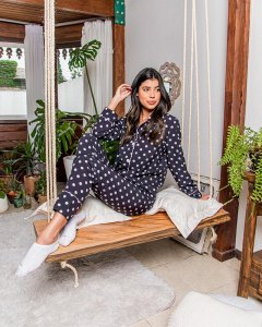 Pijama Americano Camisa com Botoes Longo Poa Classy