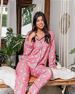 Pijama Americano Camisa com Botoes Breakfast Longo Classy