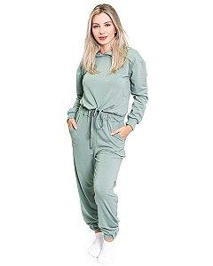 Conjunto Moletom feminino Cropped Calca Jogger Verde com Capuz Roupa Confortavel
