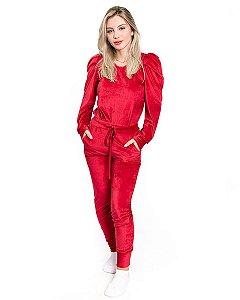 Conjunto feminino em Plush Vermelho Blusa Bufante Princesa