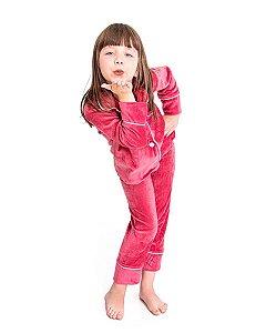 Pijama Infantil Tal Mae Tal Filha Americano em Plush Cassis