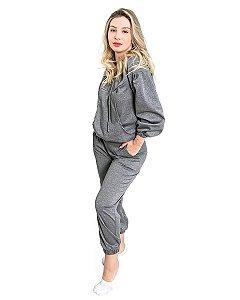 Conjunto feminino Lurex Cinza Manga Ampla Calca Jogger