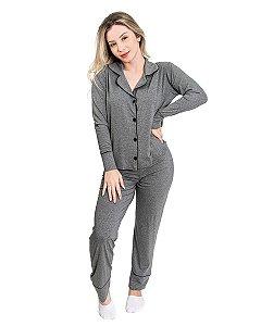 Pijama Americano feminino Camisaria Tres Pecas Cinza Mescla