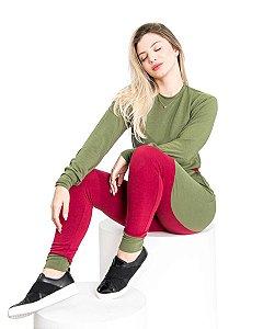 Conjunto Moletinho feminino Malha Crepe Verde Bordo