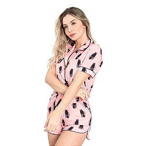 Pijama Americano feminino Camisa com Botoes Cats Classy