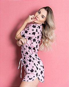 Pijama Americano feminino Camisa com Botoes Pink Cats Classy