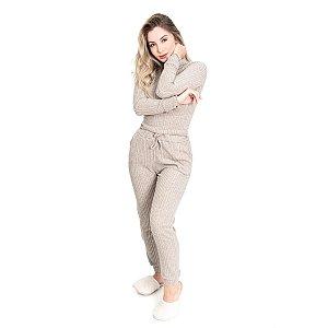 Conjunto Tricot Canelado feminino Comfy Areia Roupa Confortavel