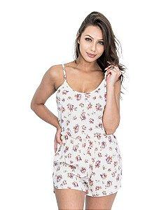 Pijama Short Doll de Alcinha Off White Estampa Floral