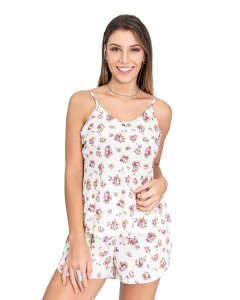 Pijama Short Doll de Alcinha Off White Estampa Floral