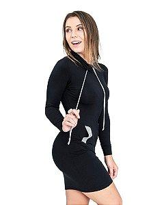 Vestido Moletom Gola Alta Manga Longa Preto