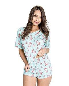 Pijama feminino Cropped e Short Estampado Natal