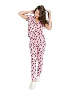 Pijama Americano feminino Camisa com Botoes Soda