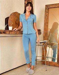 Pijama Americano feminino Camisa com Botoes e Calca Azul