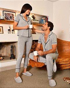 Pijama Americano feminino Camisa com Botoes e Calca Cinza Mescla