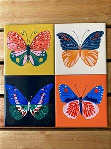 Quarteto Azulejos Borboletas 15X15