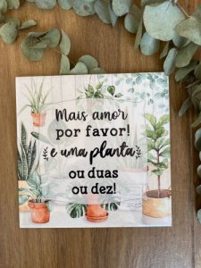 Azulejo Mais amor por favor e plantas 20X20.