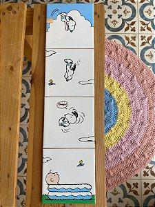 Quarteto Azulejo Snoopy Mergulhador 60X15