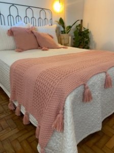 Manta Tricô - Rosê lisa