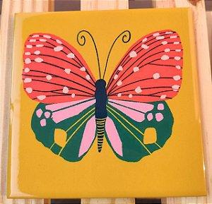 Azulejo 15 x 15 - Borboleta fundo amarelo