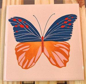 Azulejo 15 x 15 - Borboleta fundo bege