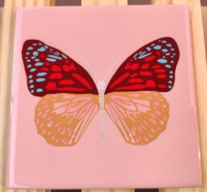 Azulejo 15 x 15 - Borboleta fundo rosa