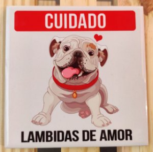 """Azulejo 15 x 15 -  """"Lambidas de amor"""""""