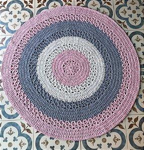 Tapete 1 mt - Cinza, rosa e cru