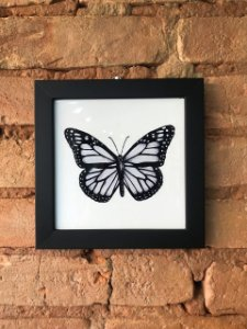 Azulejo 15 x 15 borboleta preta e branca