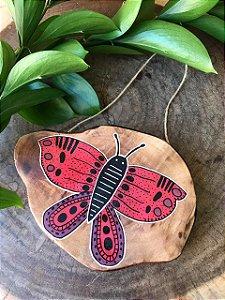 Placa de Madeira Rústica - borboleta vermelha