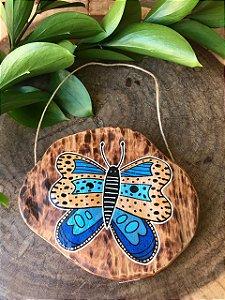 Placa de Madeira Rústica - borboleta azul