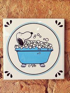Azulejo 15 x 15 - Snoopy na banheira azul