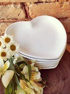 Prato Sobremesa Coração ( Branco )