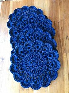 Kit  Sousplat Crochê ( Azul )