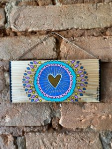 Placa de Madeira - coração