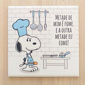 """Azulejo 15 x 15 - Snoopy """"Metade de mim é fome"""" azul"""