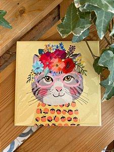 Azulejo 15 x 15 - Gato com floral na cabeça
