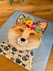 Azulejo 15 x 15 - Raposa com floral na cabeça