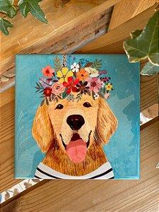 Azulejo 15 x 15 - Cachorro com floral na cabeça
